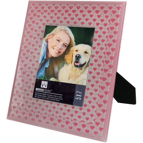 """Breeze Point 3D Depth Effect """"Hearts"""" Pattern Photo Frame with Glass Protective Face (5 x 7"""", Red)"""