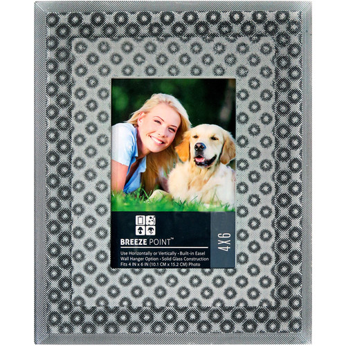 "Breeze Point 3D Depth Effect ""Circles"" Pattern Photo Frame with Glass Protective Face (4 x 6"", Gray)"