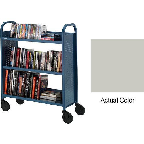 """Bretford Booktruck 3-Slant Shelves/ 5"""" Casters - Grey Mist"""