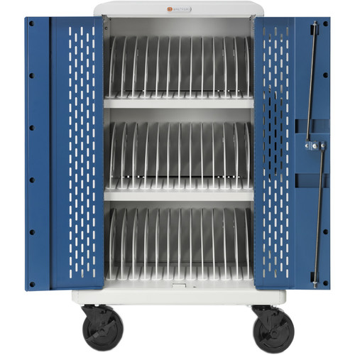 Bretford Core MS Store & Charge Cart with Back Panel and Rollers for 36 Chromebook Devices (Concrete/Blue)