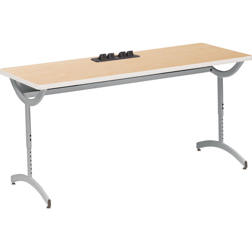 """Bretford 72 x 24"""" EXPLORE T-Leg Collaborative Laptop Table Daisy Chain Add-On (2 USB / 2 AC Outlets, 4 Casters)"""