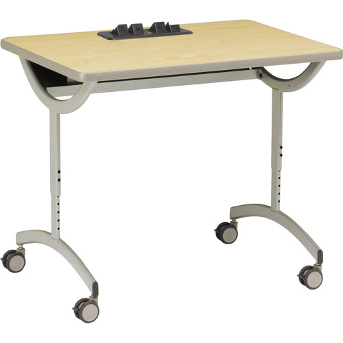 """Bretford 36 x 30"""" EXPLORE T-Leg Collaborative Laptop Table Daisy Chain Add-On (2 AC Outlets, 4 Casters)"""