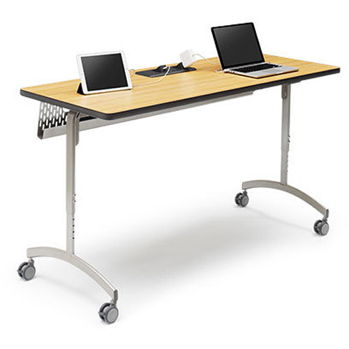 "Bretford 72 x 24"" EXPLORE Flip & Nest Collaborative Table (1 USB / 3 AC Outlets, 4 Casters)"