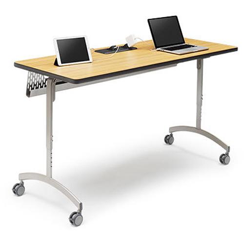 "Bretford 60 x 30"" EXPLORE Flip & Nest Collaborative Table (1 USB / 3 AC Outlets, 4 Casters)"