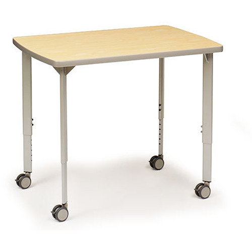 "Bretford 36 x 30"" EXPLORE 4-Leg Double-Sided Collaborative Laptop Table (2 USB / 2 AC Outlets, 4 Casters, Daisy Chain Starter)"