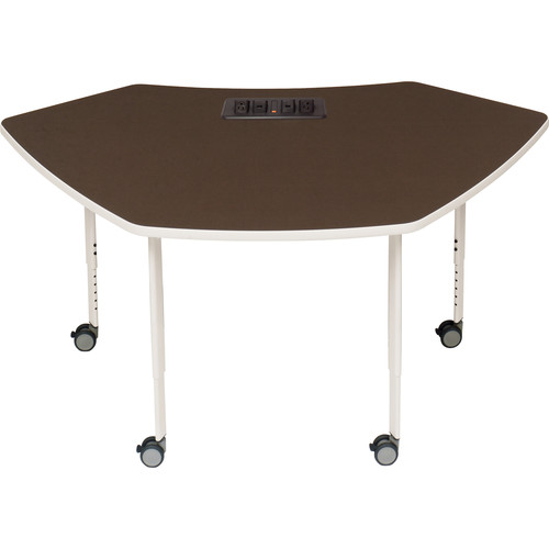 """Bretford 61.75 x 32.5"""" EXPLORE 4-Leg SCALE-UP Active Learning Table (4 AC Outlets, 4 Casters)"""