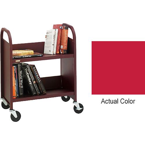"""Bretford Booktruck 2-Slant Shelves/ 4"""" Casters - Cardinal"""