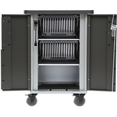 Bretford EVER Charging Cart for Up to 30 Devices with USB MiX Module, 270 Degree Front Doors, & Back Panel