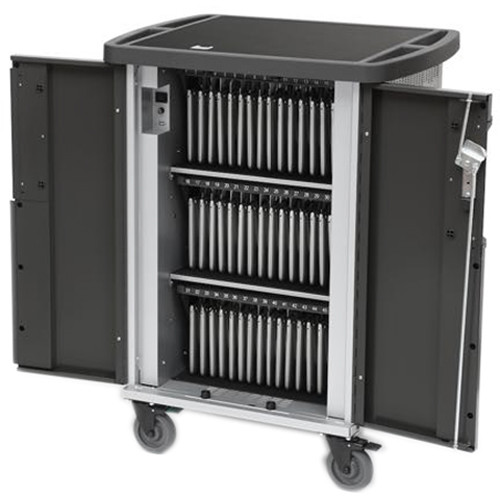 Bretford EVER Charging Cart for Up to 45 Devices with USB MiX Module, 270 Degree Front Doors, & Back Panel