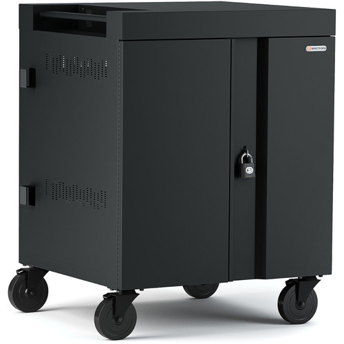 Bretford CUBE Cart 16-Device Charging Cart with 270° Doors (Black)