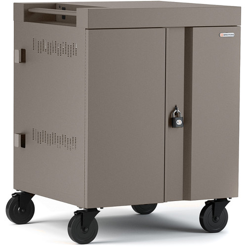 Bretford Cube Charge Cart - 16 Slot/90 Degree Outlets - Charcoal