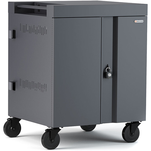 Bretford Cube Charge Cart - 32 Slot/90 Degree Outlets - Charcoal