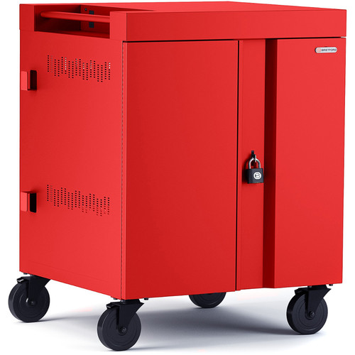 Bretford Cube Charge Cart - 32 Slot/90 Degree Outlets - Red