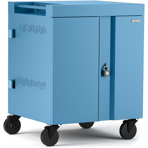 Bretford Cube Charge Cart - 32 Slot/90 Degree Outlets - Sky