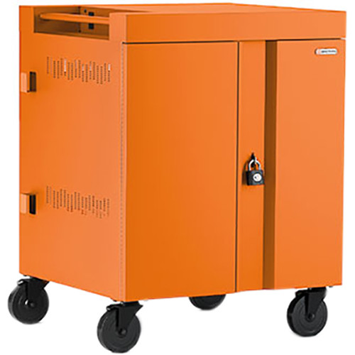 Bretford CUBE Cart 32-Device Charging Cart with 90° Doors (Tangerine)