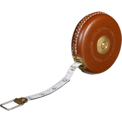 Bright Tangerine Brown Leather Tape Measure with Brass Winder (33 ft)