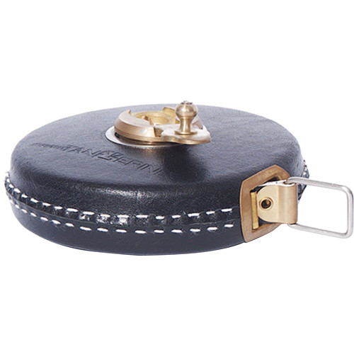 Bright Tangerine Black Leather Tape Measure with Brass Winder (33 ft)