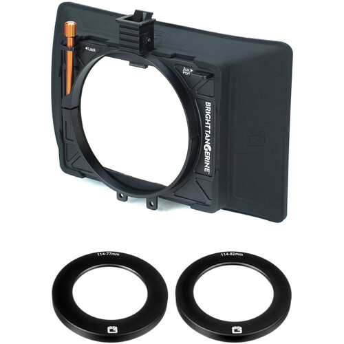 Bright Tangerine Misfit Atom Matte Box with 77 to 114 & 82 to 114mm Threaded Adapter Rings Kit