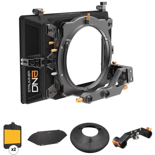 "Bright Tangerine Strummer DNA Matte Box Kit with 4 x 5.65"" Filter Trays, Top Flag, 19mm Support, and Black Hole Rubber Donut"