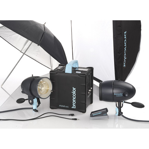 Broncolor Move 1200 L Battery Power Pack with 2 MobiLED Flash Heads and Free Battery