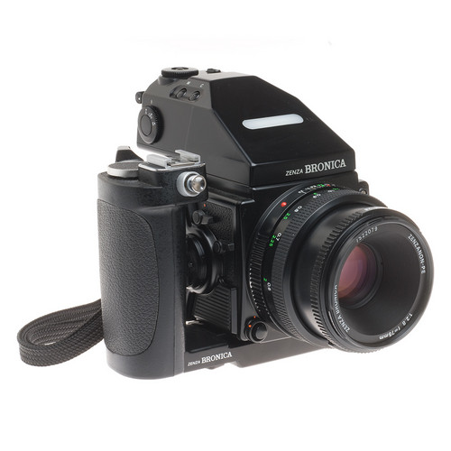 Bronica ETRSi Medium Format SLR Camera with 75mm f/2.8 PE Lens, 6x4.5 (120) Film Back ,AE III Meter Prism Finder and Speed Grip E