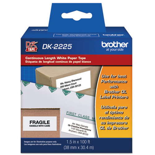 Brother DK2225 White Continuous Length Paper Tape for Labels