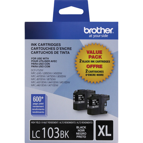 Brother LC103BK Innobella High Yield XL Ink Cartridge (2-Pack, Black)