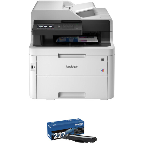 Brother MFC-L3750CDW Color LED All-in-One Printer & TN227BK High-Yield Black Toner Cartridge Kit