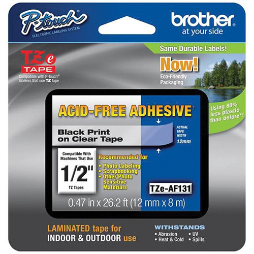 """Brother Acid-Free Tape (1/2"""" x 26.2', Black on Clear)"""