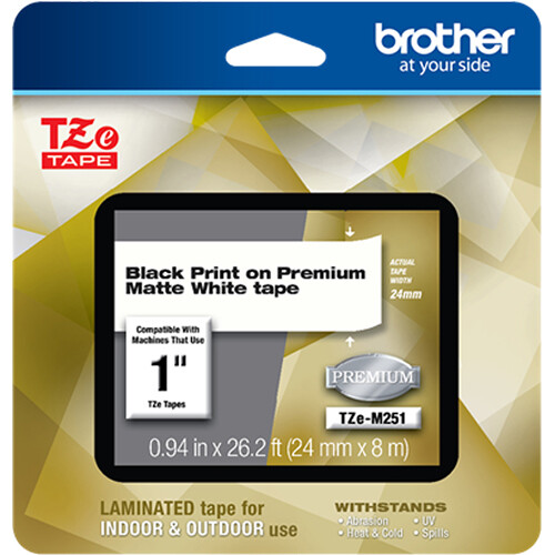 "Brother TZe-M251 Laminated Tape for P-Touch Label Makers (Black on Matte White, 0.94"" x 26.2')"