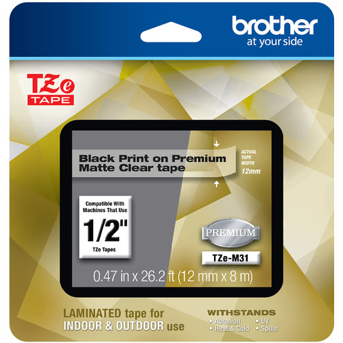 """Brother TZe-M31 Laminated Tape for P-Touch Label Makers (Black on Matte Clear, 0.47"""" x 26.2')"""