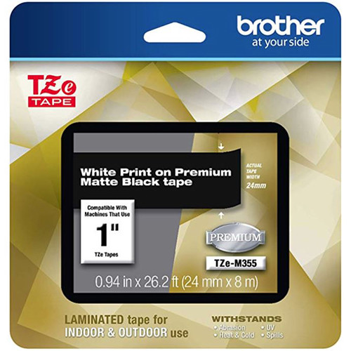 "Brother TZe-M355 Laminated Tape for P-Touch Label Makers (White on Matte Black, 0.94"" x 26.2')"