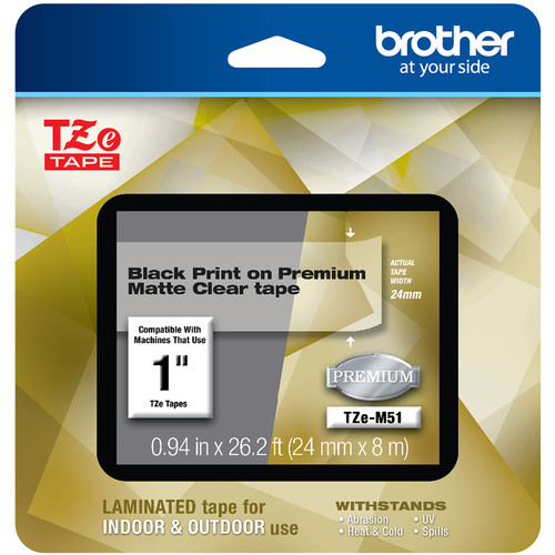 """Brother TZe-M51 Laminated Tape for P-Touch Label Makers (Black on Matte Clear, 0.94"""" x 26.2')"""