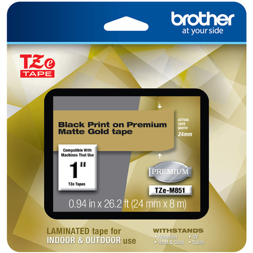 "Brother TZe-M851 Laminated Tape for P-Touch Label Makers (Black on Matte Gold, 0.94"" x 26.2')"