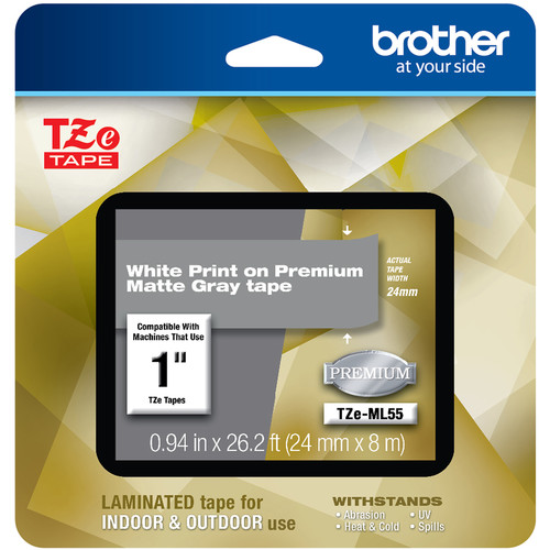 """Brother TZe-ML55 Laminated Tape for P-Touch Label Makers (White on Matte Gray, 0.94"""" x 26.2')"""