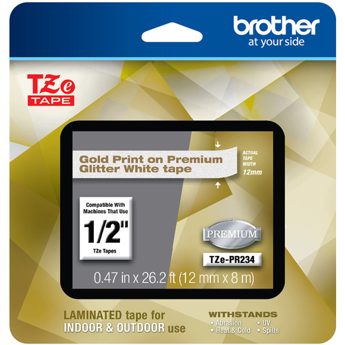 """Brother TZe-PR234 Laminated Tape for P-Touch Label Makers (Gold on Glitter White, 0.47"""" x 26.2')"""