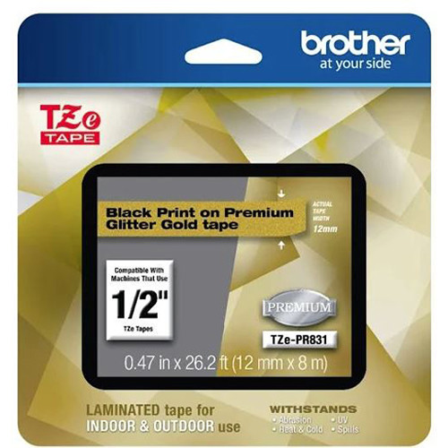 """Brother Laminated Tape for P-Touch Label Makers (1/2"""" x 26.2', Black on Glitter Gold)"""