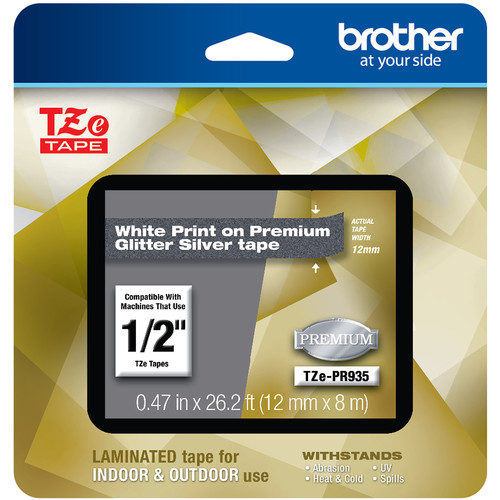 "Brother TZe-PR935 Laminated Tape for P-Touch Label Makers (White on Glitter Silver, 0.47"" x 26.2')"