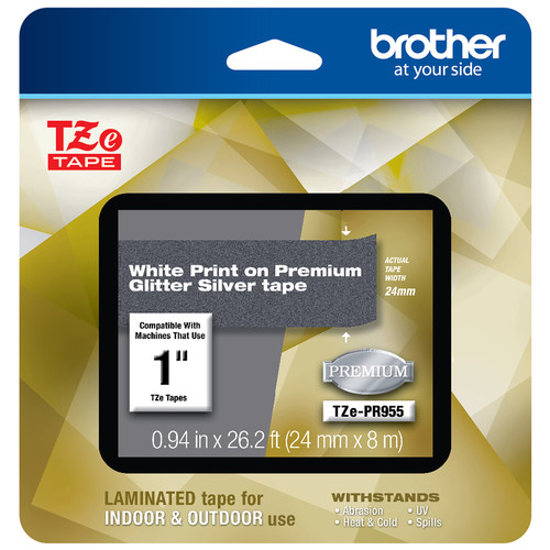"""Brother Laminated Tape for P-Touch Label Makers (White on Glitter Silver, 1"""" x 26.2')"""