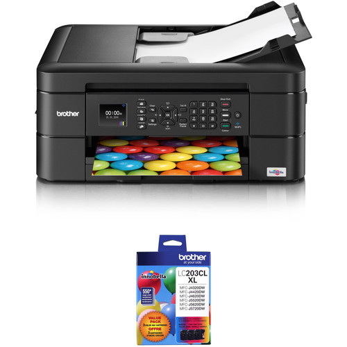Brother WorkSmart Series MFC-J460DW All-in-One Inkjet Printer with High Yield 3-Color Ink Set Kit