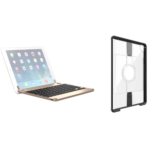 Brydge Bluetooth Keyboard Case & Otter Box uniVERSE Case for iPad Pro 9.7 (Gold, Black/Clear)
