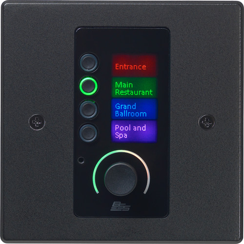 BSS Audio Single-Gang Ethernet Wall Controller with LCD Screen, 4 Buttons, and Volume Control (EU, Black)