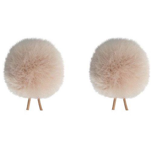 Bubblebee Industries Twin Windbubbles Miniature Imitation-Fur Windscreen Set for Lav Mics 3 to 4mm (Beige)