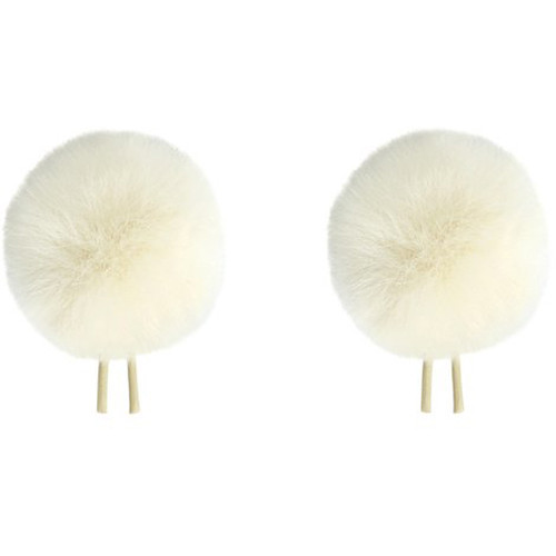 Bubblebee Industries Twin Windbubbles Miniature Imitation-Fur Windscreen Set for Lav Mics 3 to 4mm (Off-White)