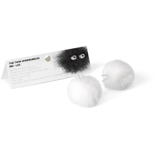 Bubblebee Industries Furry Windbubbles for Lavalier Microphones 3 to 4mm (White, 2-Pack)