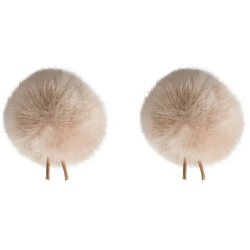 Bubblebee Industries Twin Windbubbles Miniature Imitation-Fur Windscreen Set for Lav Mics 5 to 8mm (Beige)