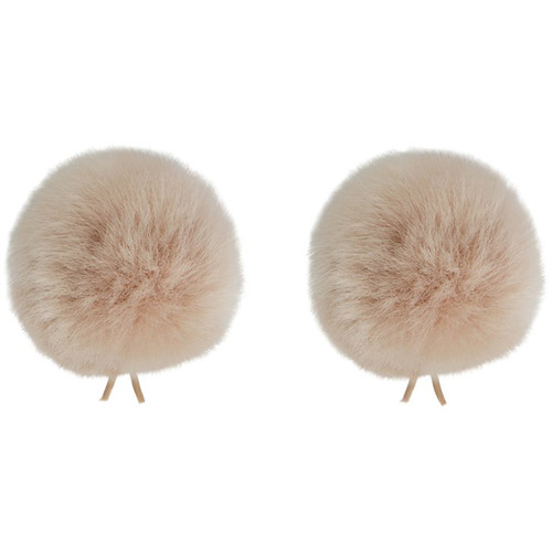 Bubblebee Industries Twin Windbubbles Miniature Imitation-Fur Windscreen Set for Lav Mics 5 to 9mm (Beige)