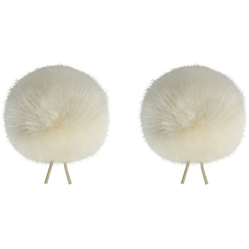 Bubblebee Industries Twin Windbubbles Miniature Imitation-Fur Windscreen Set for Lav Mics 5 to 9mm (Off-White)