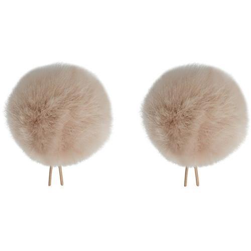 Bubblebee Industries Twin Windbubbles Miniature Imitation-Fur Windscreen Set for Lav Mics 8 to 13mm (Beige)