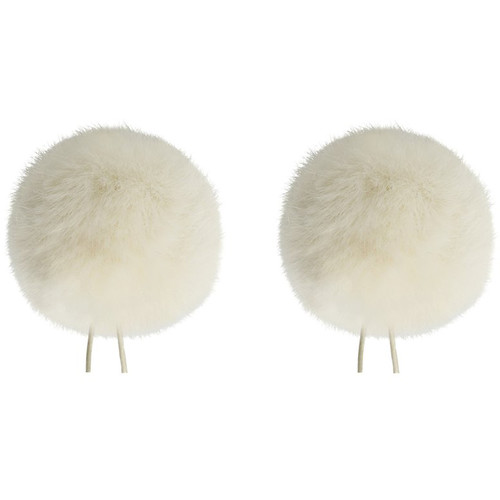 Bubblebee Industries Twin Windbubbles Miniature Imitation-Fur Windscreen Set for Lav Mics 8 to 13mm (Off-White)